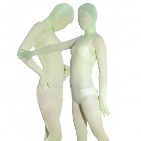 Green Transparent Velvet Unisex Morph Zentai Suit