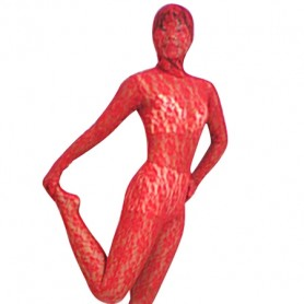 Red Transparent Lace Velour Morph Zentai Suit