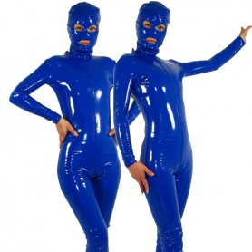 Royal Blue Fullbody Full Body Front Open PVC Unisex Catsuit