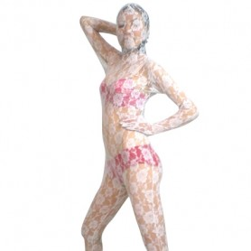 White Transparent Lace Velour Morph Zentai Suit