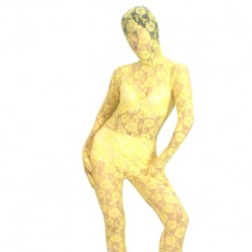 Yellow Transparent Lace Velour Morph Zentai Suit
