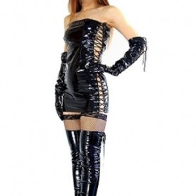 Unusual Black PVC Sexy Dress