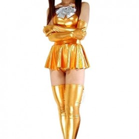 Gold Shiny Metallic Bowknot Mini Skirt Suit