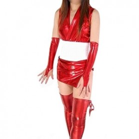 Perfect Red Shiny Metallic Sexy Costume