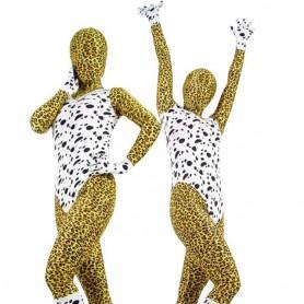 Leopard Pattern & Black Dot Lycra Spandex Morph Zentai Suit