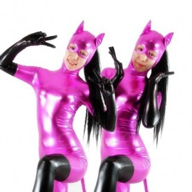 Purple Cat Woman Shiny Metallic Catsuit with Black Gloves