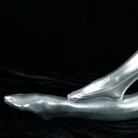 ZENTAI Silver Shiny Metallic Stockings