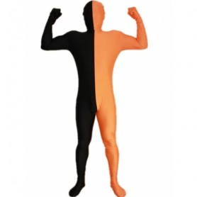 Black And Orange Fullbody Full Body Lycra Spandex Morph Zentai Suits Split Morph Zentai Suit