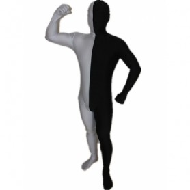Black And White Fullbody Full Body Lycra Spandex Morph Zentai Suits Split Morph Zentai Suit