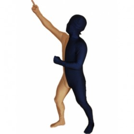 Navy blue And Gold Fullbody Full Body Lycra Spandex Morph Zentai Suits Split Morph Zentai Suit
