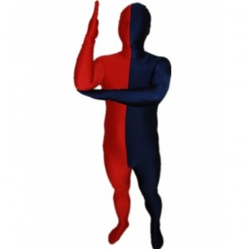 Navy blue And Red Fullbody Full Body Lycra Spandex Morph Zentai Suits Split Morph Zentai Suit