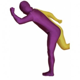 Purple And Yellow Fullbody Full Body Lycra Spandex Split  Morph Zentai Suits Split Morph Zentai Suit