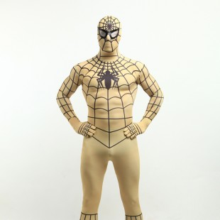 Adobe Brown Spiderman Super Hero Halloween Full Body Spandex Holiday Unisex Lycra Morph Zentai Suit