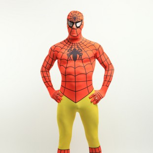 Orange and Yellow Spiderman Super Hero Full Body Spandex Holiday Unisex Lycra Morph Zentai Suit