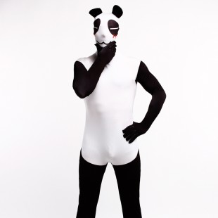 Balck and White Panda Cartoon Full Body Halloween Spandex Holiday Unisex Cosplay Zentai Suit