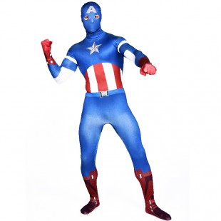 Blue Captain America Full Body Halloween Spandex Holiday Unisex Cosplay Zentai Suit