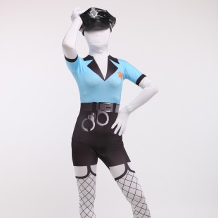 Blue and Black Police Full Body Spandex Holiday Unisex Cosplay Zentai Suit