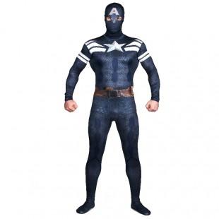 Deep Blue Captain America Full Body Halloween Spandex Holiday Unisex Cosplay Zentai Suit