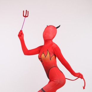 Halloween Red Elf Full Body Spandex Holiday Unisex Cosplay Zentai Suit