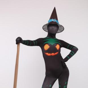 Halloween Witch Unisex Full Body Spandex Holiday Unisex Cosplay Zentai Suit
