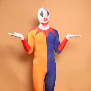Orange and Blue Clown Halloween Full Body Spandex Holiday Unisex Lycra Morph Zentai Suit