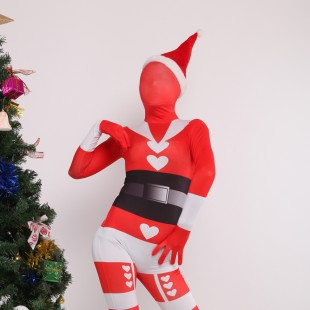 Red Sata Clause Full Body Spandex Christmas Holiday Unisex Cosplay Zentai Suit