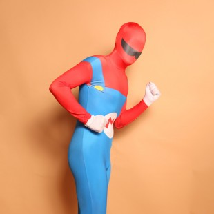 Red and Blue Big Beard Full Body Halloween Spandex Holiday Unisex Cosplay Zentai Suit
