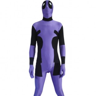 Purple and Black Deadpool Spandex Zentai Suit