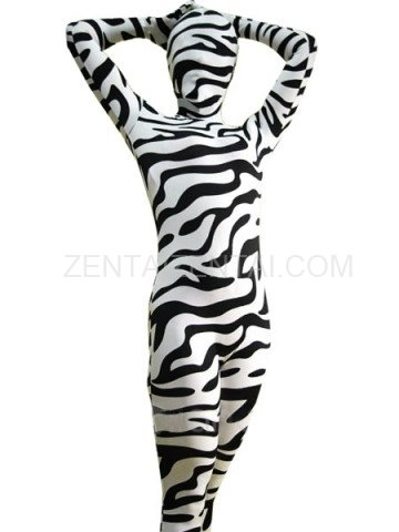 Fullbody Full Body Zebra Pattern Spandex  Morph Zentai Suit