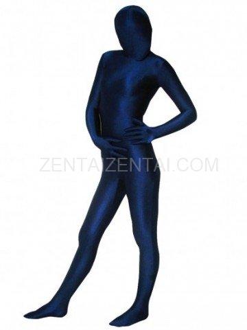 Unicolor Fullbody Full Body Dark Blue Spandex Morph Zentai Suit