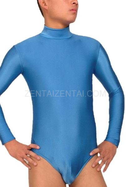 Blue Lycra Spandex Long Sleeves Suit