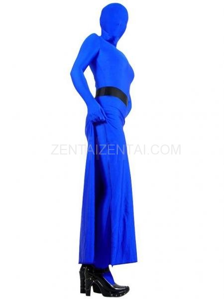 Skirt Style Blue Lycra Spandex Unisex Morph Zentai Suit in