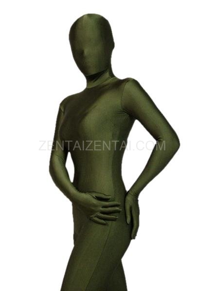 Unicolor Fullbody Full Body Army Green Lycra Spandex Morph Zentai Suit