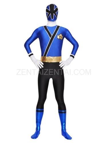 Blue and Black Lycra Spandex Unisex  Morph Zentai Suit