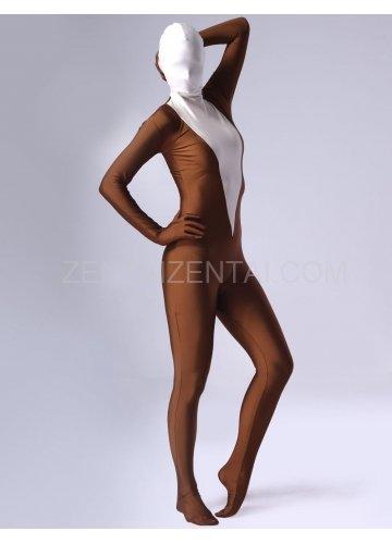 Coffee Lycra Spandex Female Morph Zentai Suit