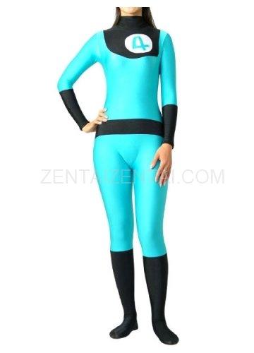 Fantastic 4 Blue And Black Lycra Spandex Unisex  Morph Zentai Suit