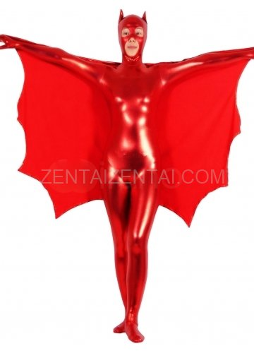 Shiny Metallic Red Bat Unisex Catsuit