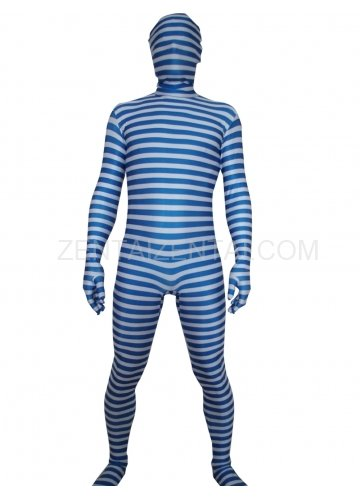Blue And White Stripe Lycra Unisex Morph Zentai