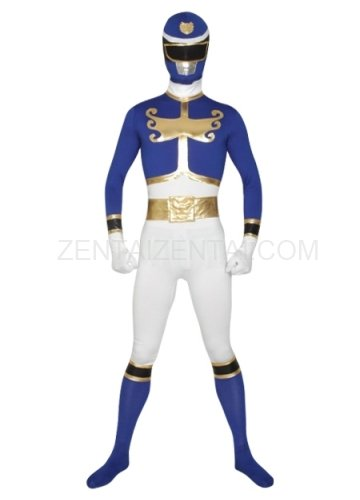 Blue And White Super Hero Lycra Morph Zentai Suit
