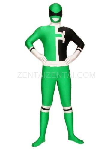 Green And Black Lycra Spandex Super Hero Morph Zentai Suit