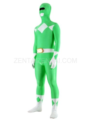 Green And White Lycra Spandex Unisex Super Hero Morph Zentai Suit