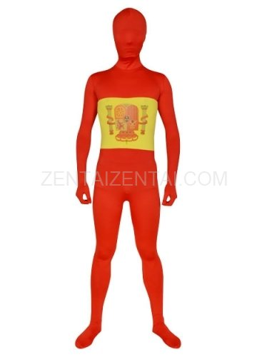 Red with Yellow White Spandex Lycra Morph Zentai Suit
