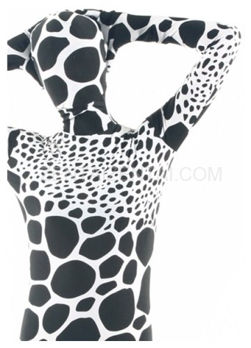 White Black Dot Lycra Spandex Unisex Morph Zentai Suit