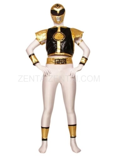 White with Black And Gold Lycra Spandex Super Hero Morph Zentai Suit