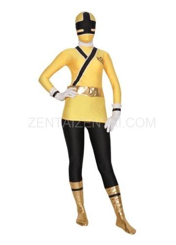 Yellow And Black Shiny Metallic Lycra Super Hero Morph Zentai Suit