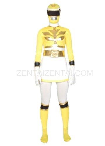 Yellow And White Super Hero Lycra Spandex Unisex Morph Zentai Suit