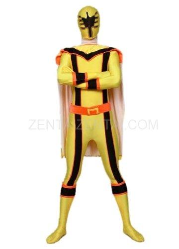 Yellow with Black Lycra Spandex Super Hero Morph Zentai Suit