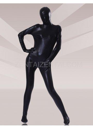 Black Shiny Metallic Unisex Morph Zentai Suits