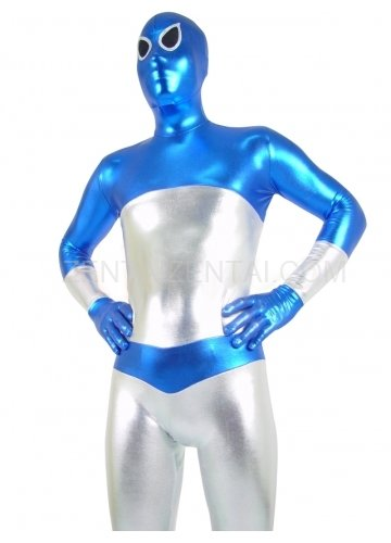 Blue and Silver Shiny Metallic Unisex Morph Zentai Suit