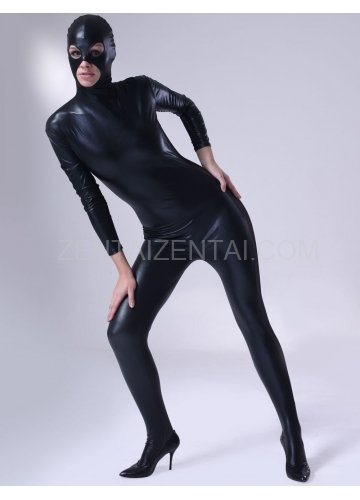 Classic Black Shiny Metallic Male Morph Zentai Suit